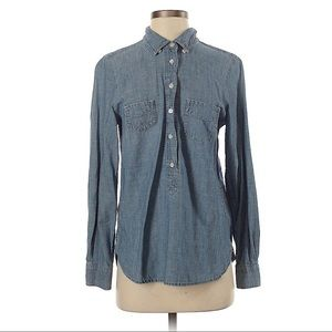 J. Crew Chambray Denim Popover Shirt, sz S